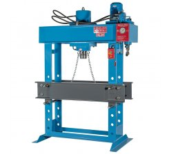 Presa hidraulica pentru ateliere mecanice 1550 x 550 mm HD 160 cu motor, pompa manuala si cilindru deplasabil HD160MOV1550