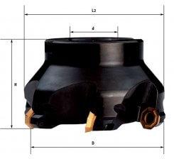 Cap de frezat la 43 grade cu placute schimbabile 63-100 mm F308